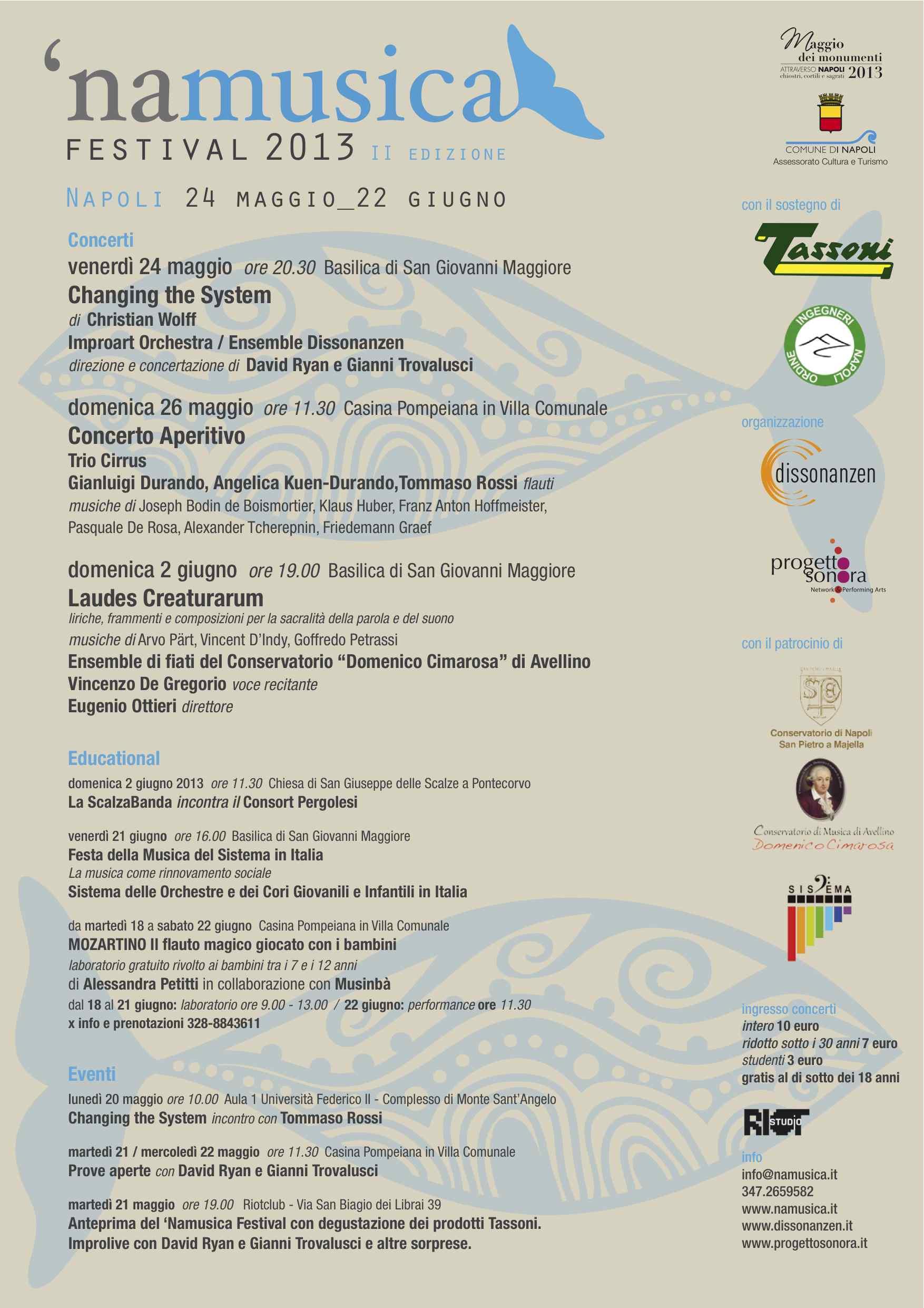 Dal 24 maggio il 'NAMUSICA FESTIVAL 2013